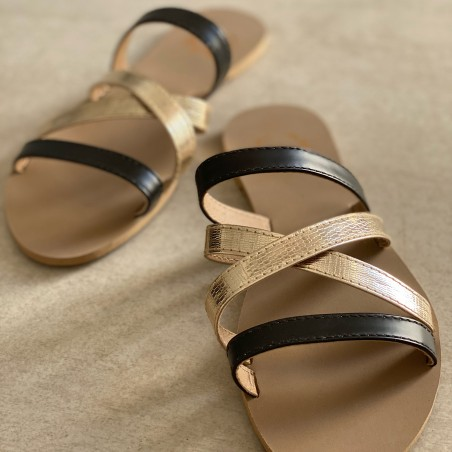 CROSS & SLING SLIDER - BLACK AND GOLD